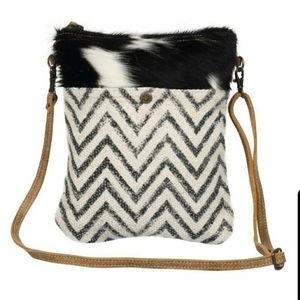 Myra Spleen CrossBody Bag - Chevron and cowhide